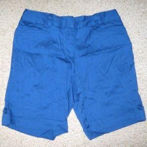Bright Blue Button Cuff 2 Pocket Dress Shorts 12